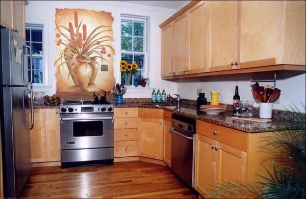 Фреска на кухне в интерьере