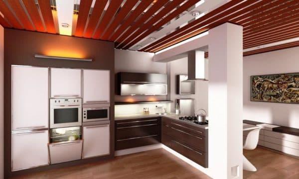 Отделка потолка на кухне варианты