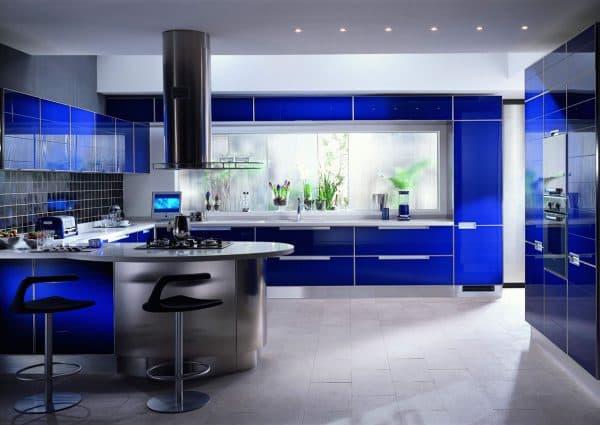 голубая кухня хай тек