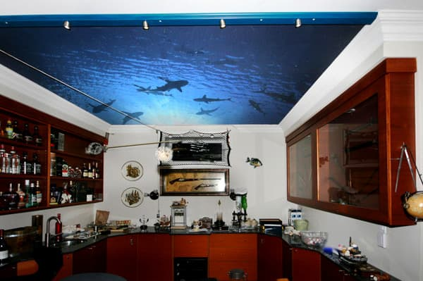 художественные натяжные потолки на кухне
