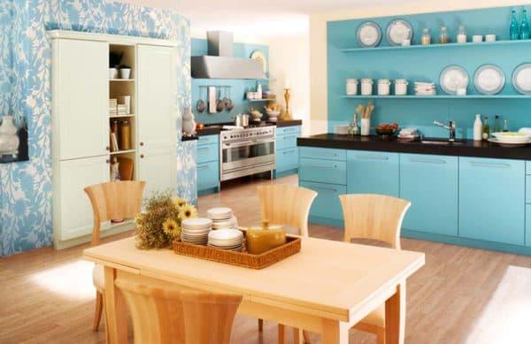 оформления интерьера кухни в голубом цвете
