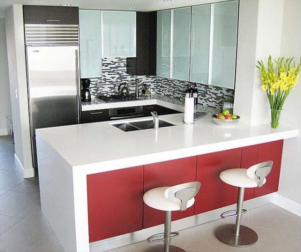 Угловые кухни с барной стойкой: дизайн планировки интерьера
