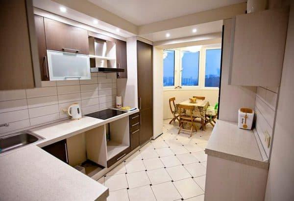 кухня столовая объединенная с балконом