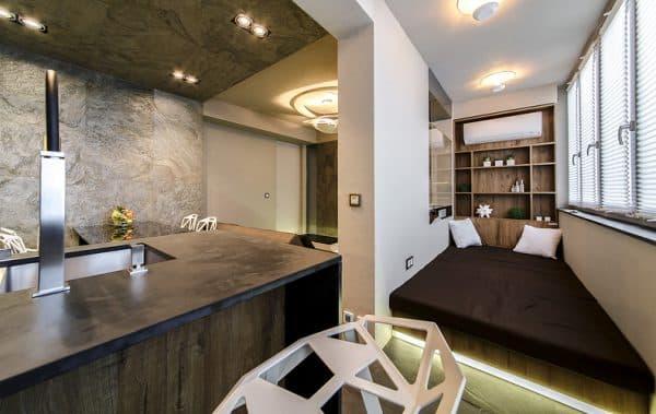 кухня лаундж зона объединенная с балконом