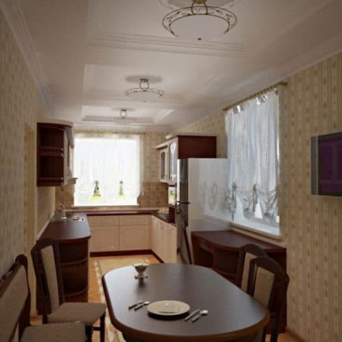 узкая столовая в частном доме