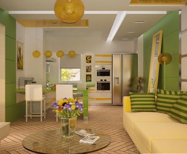 кухня гостиная в доме по зонам цвета