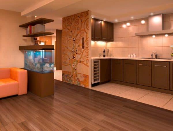 кухня гостиная в доме в плитке