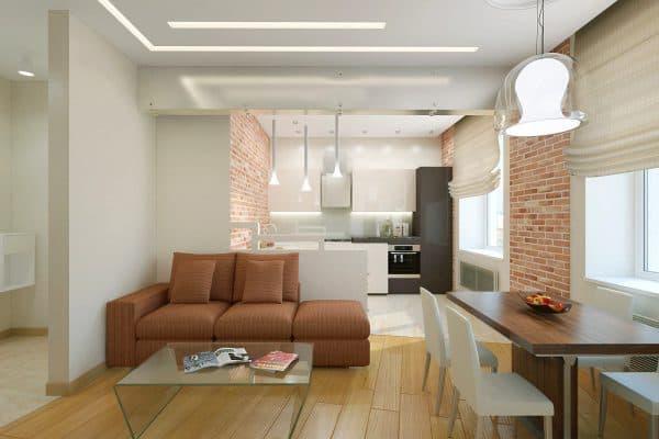 кухня гостиная в доме разделённая различным напольным покрытием