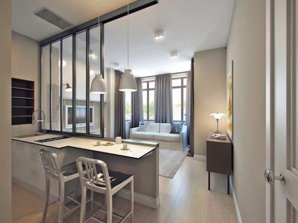 кухня гостиная в доме разделённая псевдо-стеной