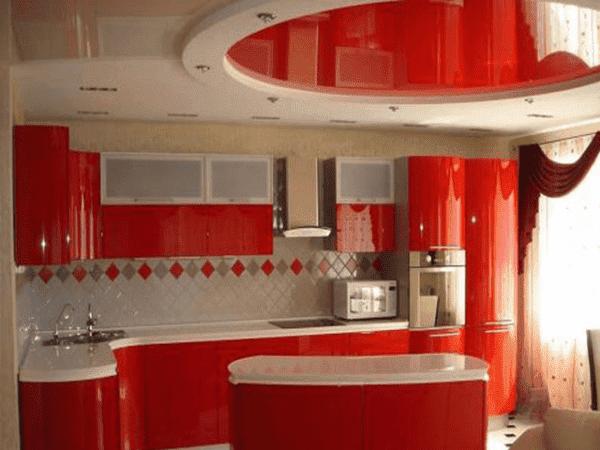 Цвет кухни сочетание цетов: красный и белый