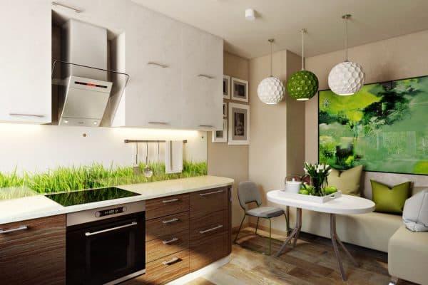 кухня в эко стиле с освещением