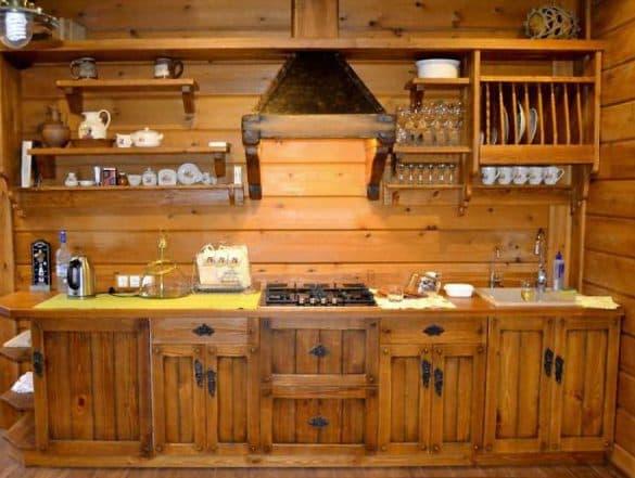 кухонные шкафы в кухне из дерева