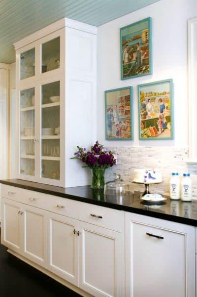 посудные шкафы на кухню с широкой столешницей