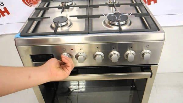 комбинированная газовая плита с электродуховкой из нержавейки