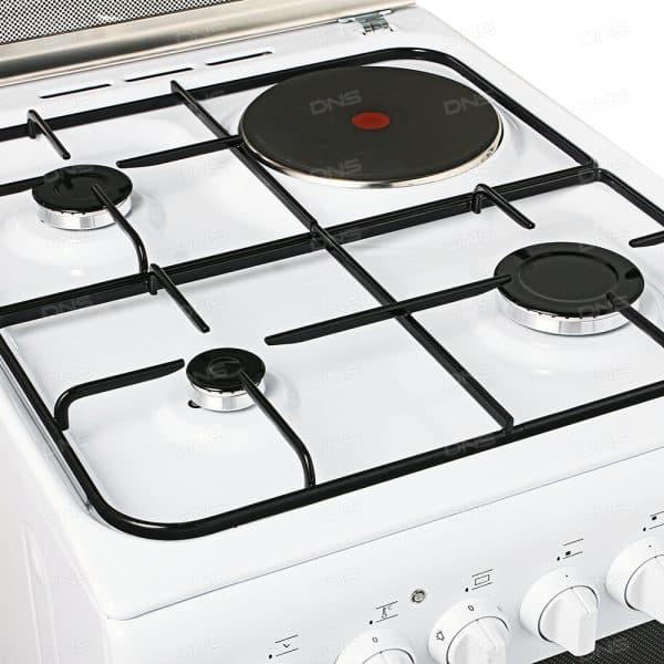 комбинированная газовая плита с электродуховкой с разными конфорками