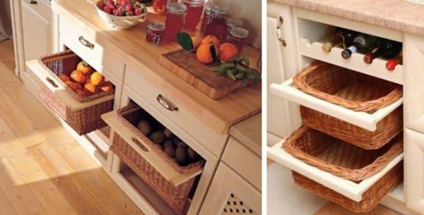 выдвижные плетеные корзины для кухни