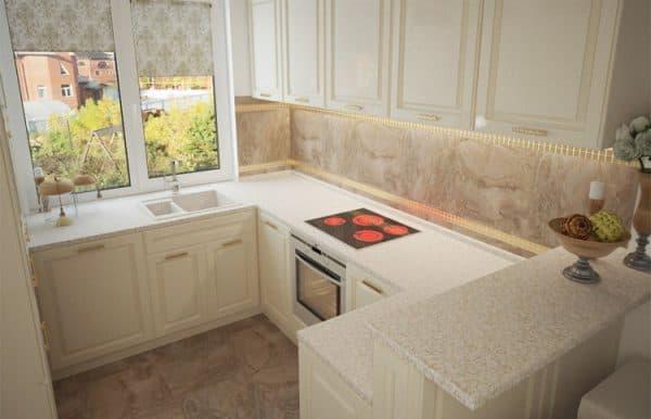 п образный кухонный гарнитур для маленькой кухни