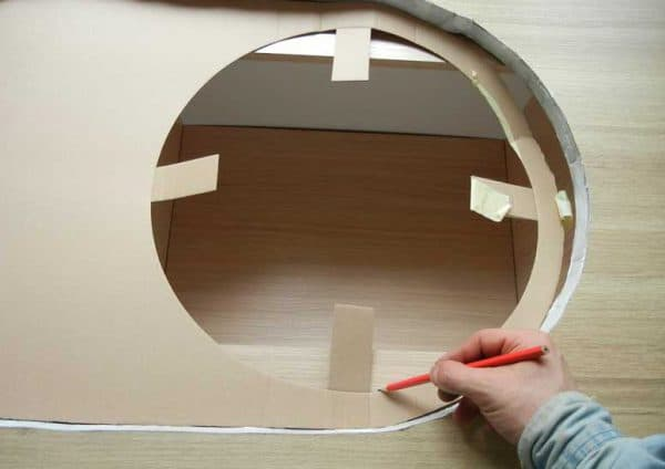 разметка размеров вырезки мойки