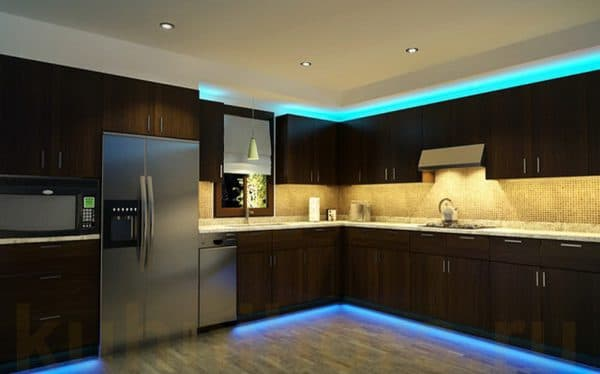 подсветка кухонного гарнитура над шкафчиком