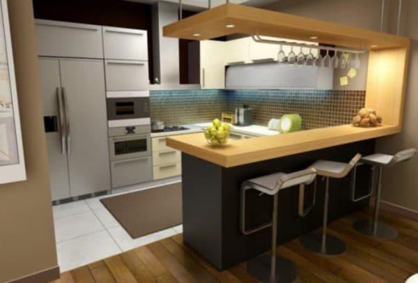кухонный гарнитур с барной стойкой в центре
