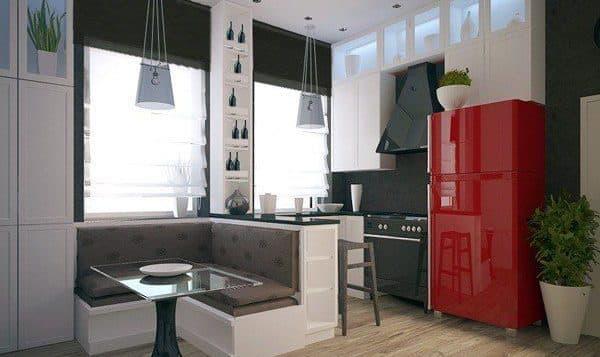 кухонный гарнитур с барной стойкой и диваном