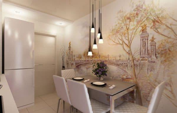 фотообои на стену на кухню в пастельных неброских тонах