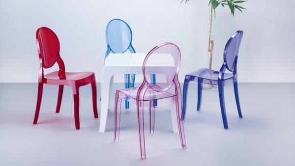 спинка прозрачных стульев для кухни