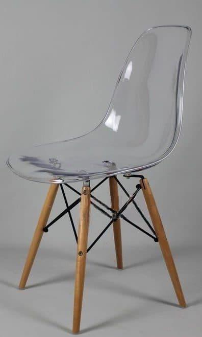 прозрачный стул для кухни eams