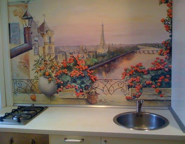 современная картина живописная роспись на стекле на кухню