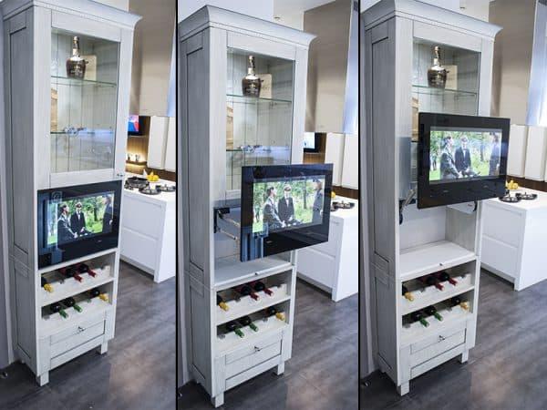 встраиваемый телевизор для кухни в шкаф