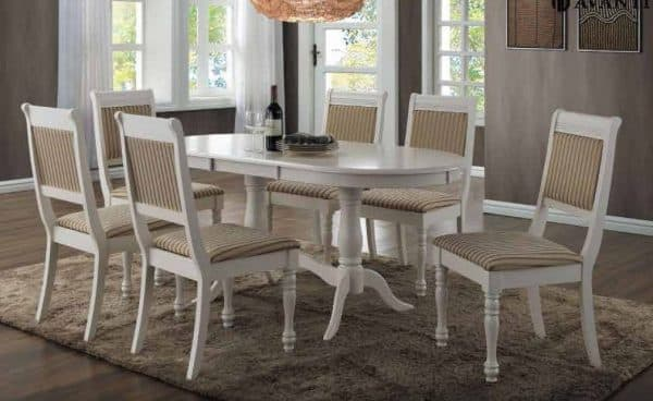 белые-молочные деревянные стулья для кухни