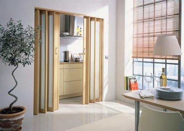 раздвижные двери на кухню по типу гармошка