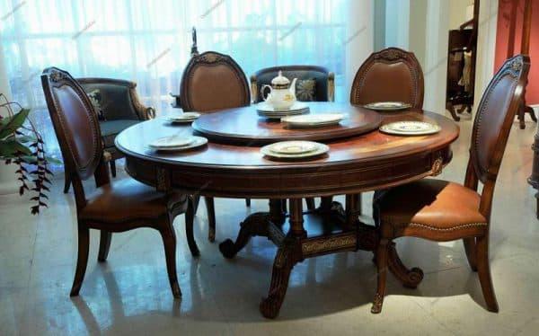 обеденный круглый стол из массива дерева