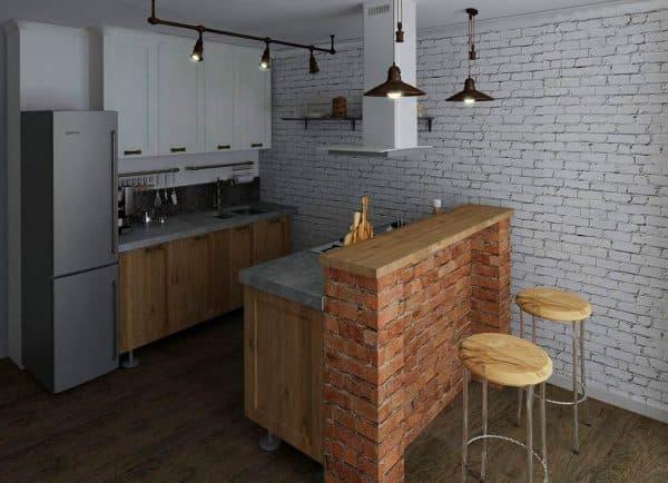 дизайн кухни с газовой колонкой в стиле лофт