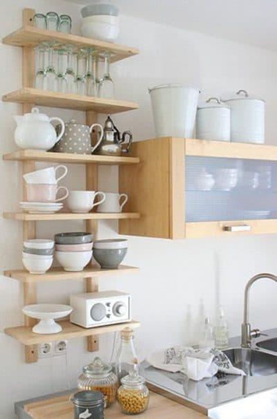 полочки на стену в маленькой кухне