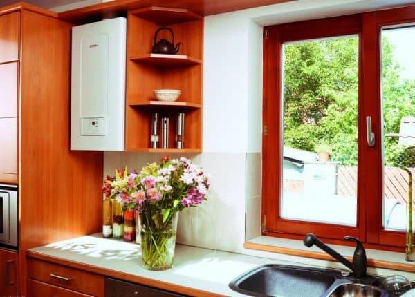 одноконтурный газовый котел на кухне