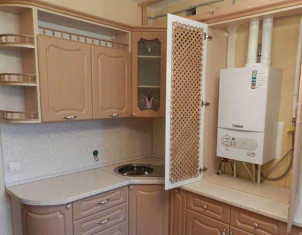 скрыть газовый котёл на кухне в деревянный короб